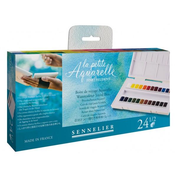 Akvareļkrāsas Sennelier La Petite Aquarelle 24 krāsas ceļojumu kastē