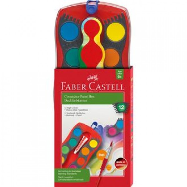 Akvareļu krāsas Faber-Castell, 12 krāsas un saliekama ota