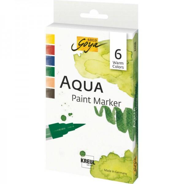 Akvareļu flomāsteri AQUA Brush Pen, 6  siltie toņi.